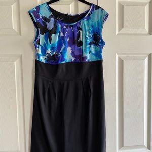 Blue floral cap-sleeve pencil dress